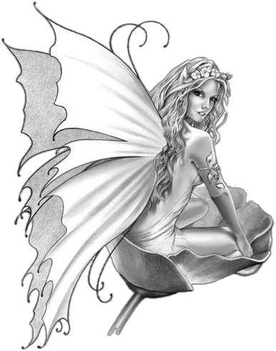 Elfes et fees page 2 - Dessin de fee en noir et blanc ...